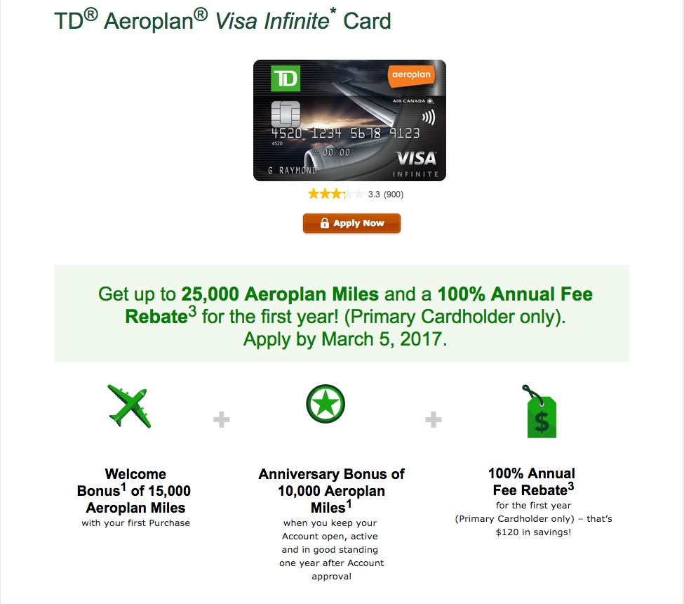 how to find aeroplan number on td credit card