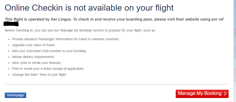 Online Check In - EI Flight on BA code and Ticket